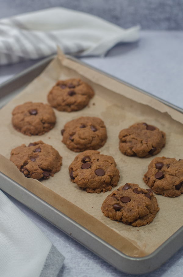 These allergen-free chocolate chip cookies are super tasty and simple to make! They are gluten-free, dairy-free, vegan, egg-free, nut-free and soy-free.