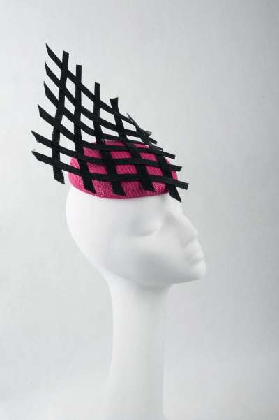 fuchsia pillbox fascinator with black modern trim - The Hat Box