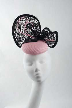 fascinator hat with elegant pillbox shape & lace trim - The Hat Box