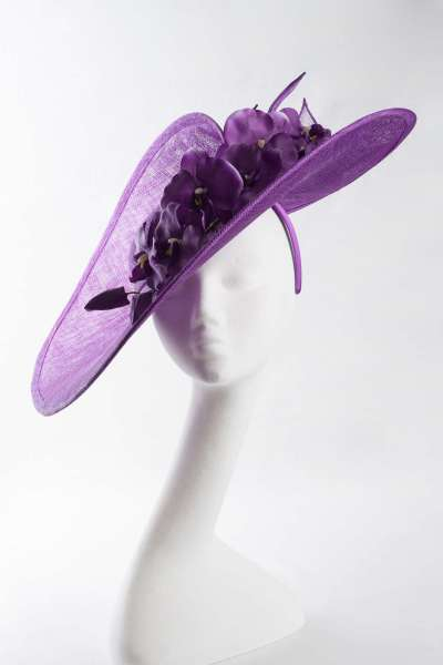 Large Split Brim Fascinator with Orchid Flower Trim in purple