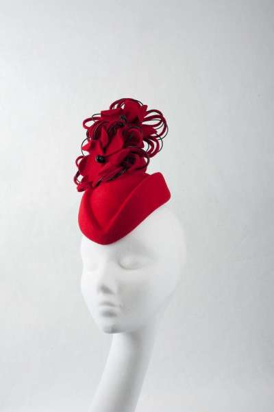 red designer pillbox fascinator hat - The Hat Box