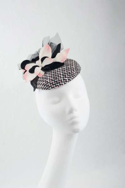 Black, white and soft pink pillbox - The Hat Box