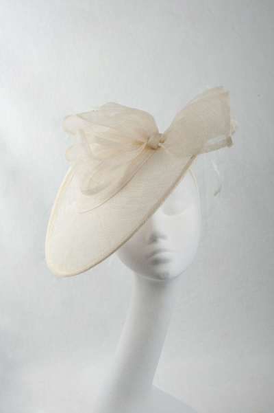 cream fascinator hat with organza bow & feather accents - The Hat Box