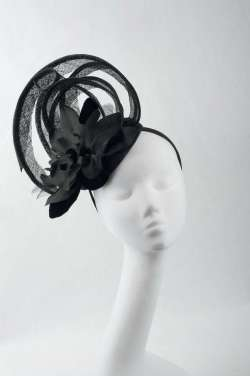 black fascinator with large flower - The Hat Box