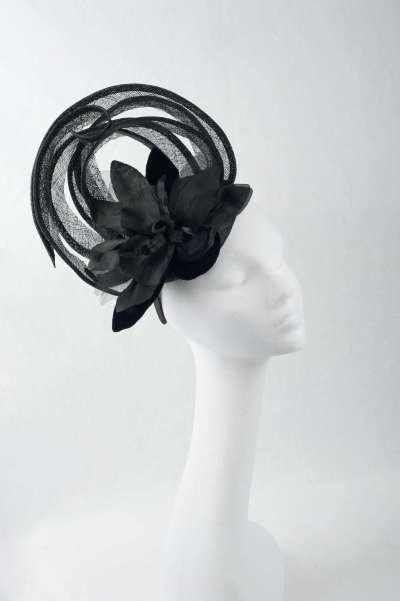 black fascinator with large flower