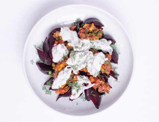 Beets with Tomato-Preserved Lemon Relish and Dill Yogurt