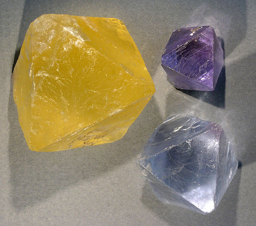 Fluorite in yellow, purple and lilac; credit Hannes Grobe via Wikimedia