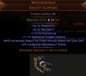 Wondertrap Velvet Slippers Path of Exile