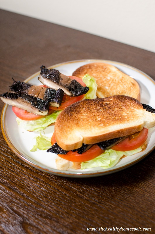 """This easy vegan version, uses grilled portobello mushrooms as the """"bacon"""" and fresh ingredients to give this sandwich a serious punch of flavor."""