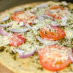 Pesto Pizza with Chickpea Crust