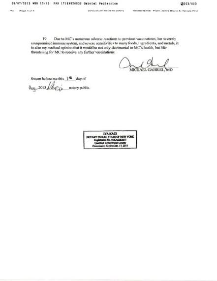 Notarized Affidavit from Pediatrician page 3