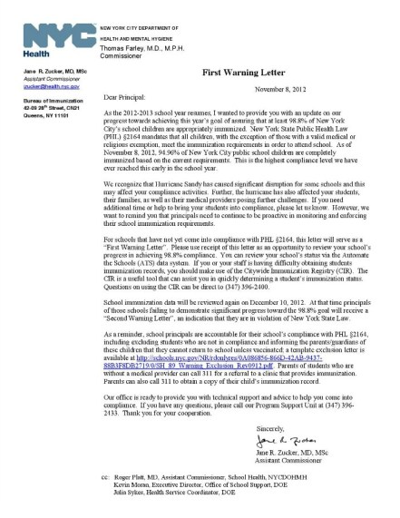 Warning letter from NYC Dept of Health to School Principal