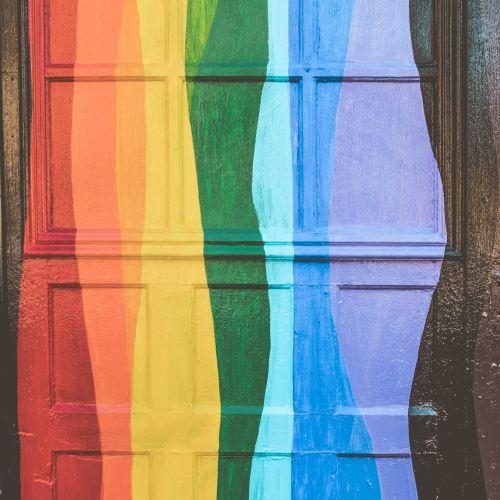 rainbow colored door