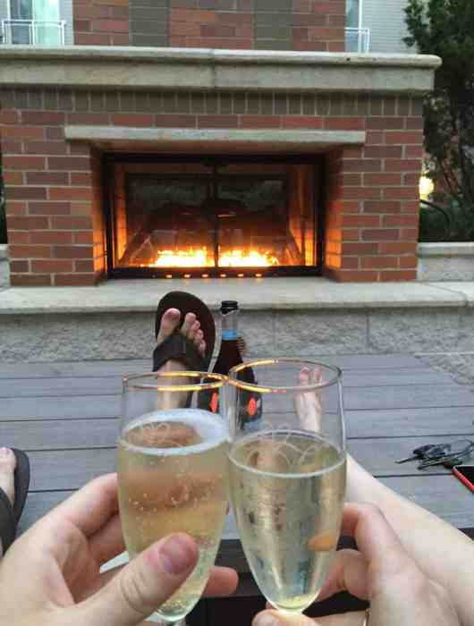 Toasting champagne glasses