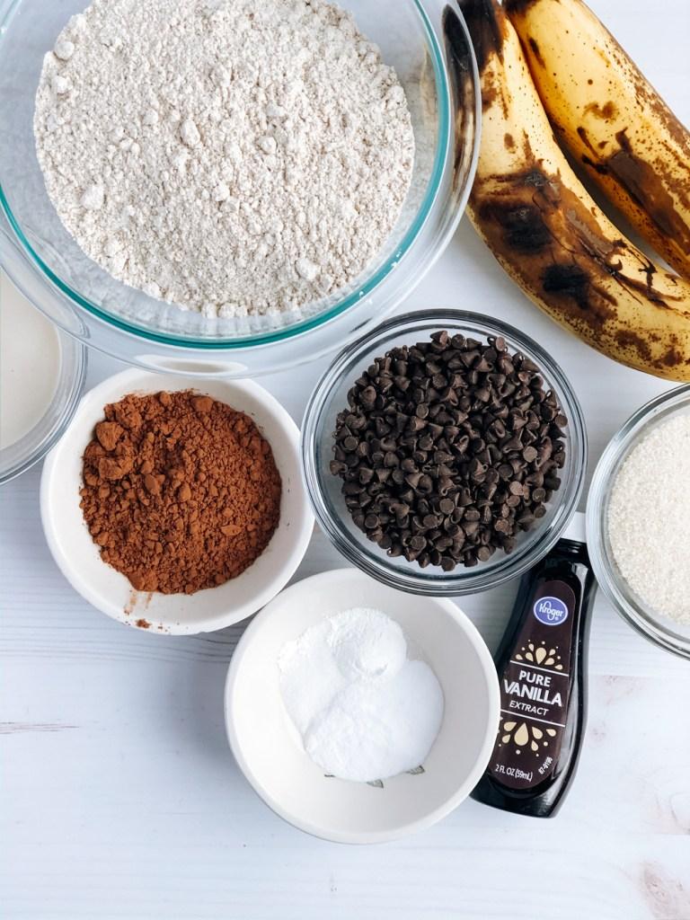 Ingredients for making one bowl vegan chocolate banana muffins