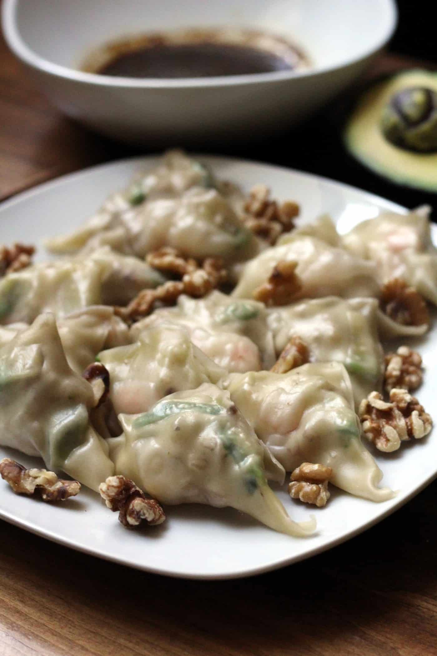 Steamed Shrimp Potstickers with Walnuts and Avocado