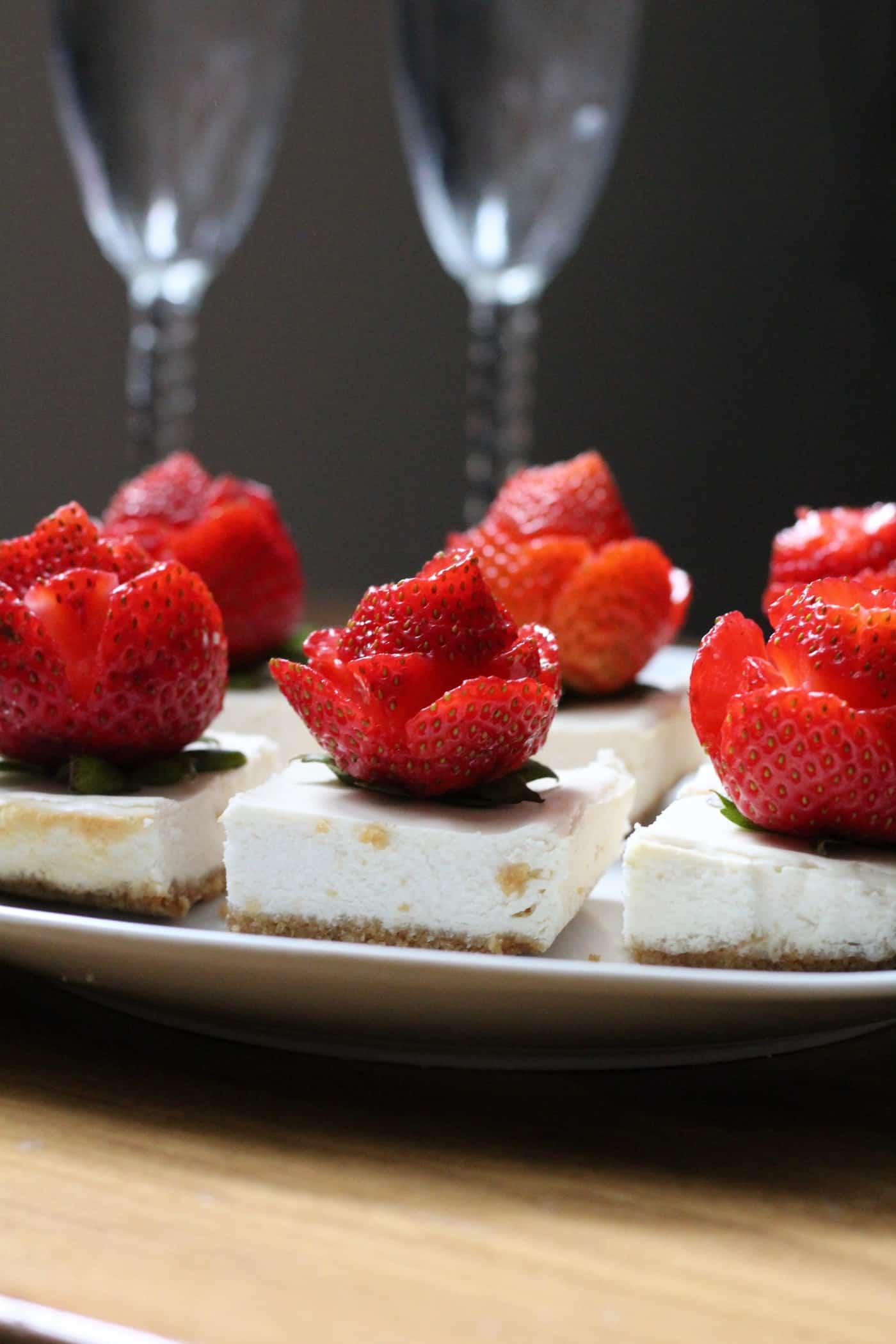 Strawberry Roses + Light and Lemony Cheesecake Bars