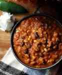 Bowl of pumpkin turkey chili