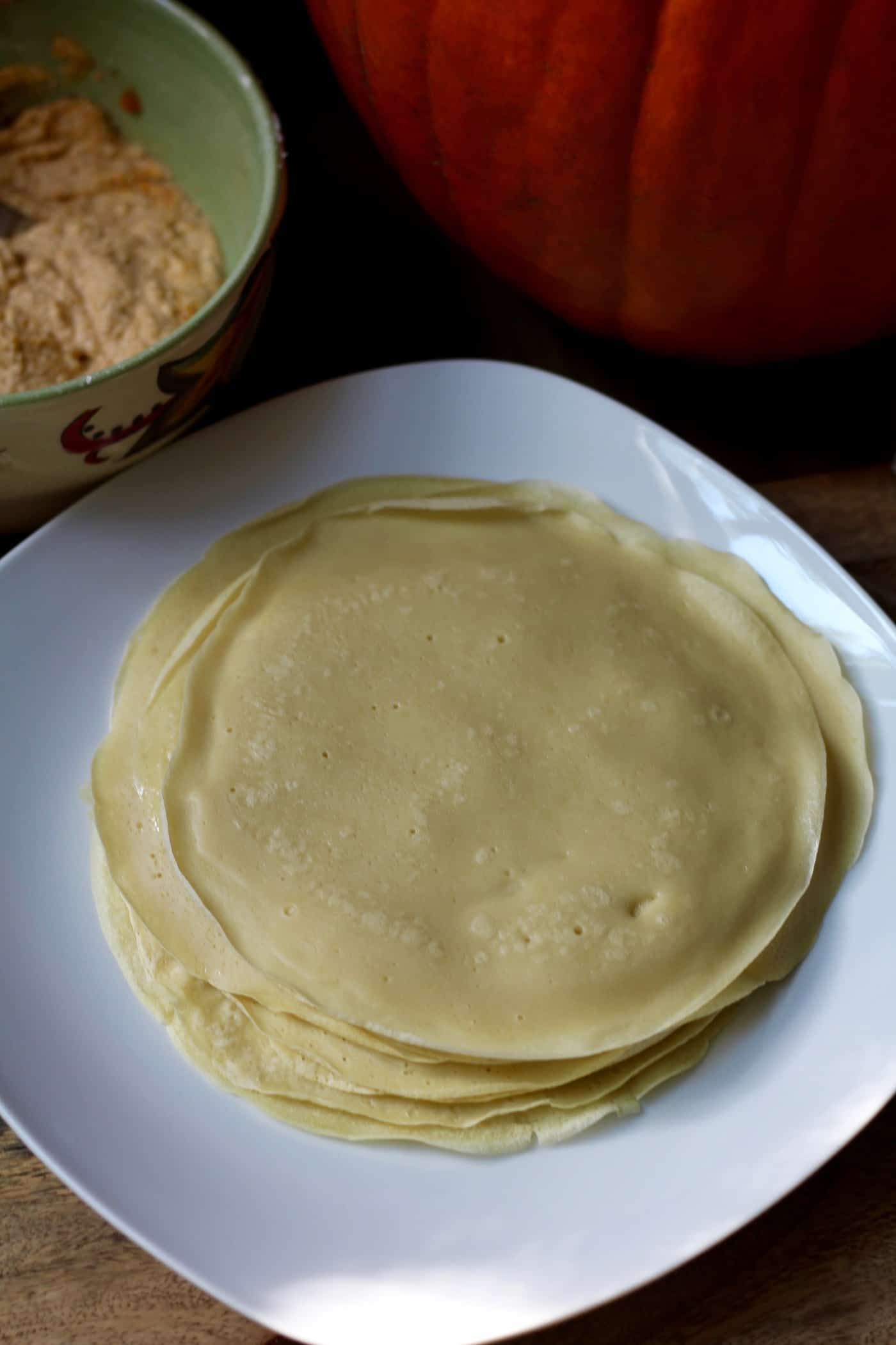Skinny Pumpkin Ricotta-Stuffed Crepes for Two