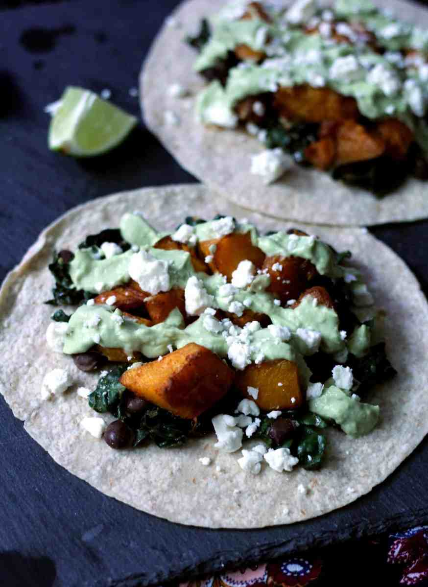Roasted Butternut Squash Tacos with Avocado Crema – Recipe Redux Challenge