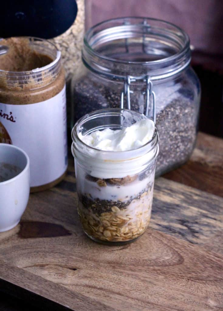 Espresso overnight oats layered