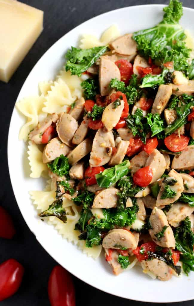 Bowl of simple kale and chicken sausage pasta