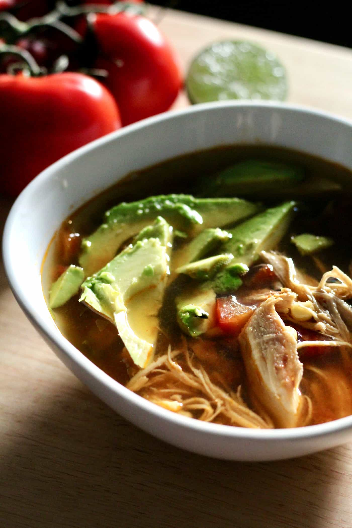Healthy Chicken and Fresh Tomato Tortilla Soup (slow cooker recipe)