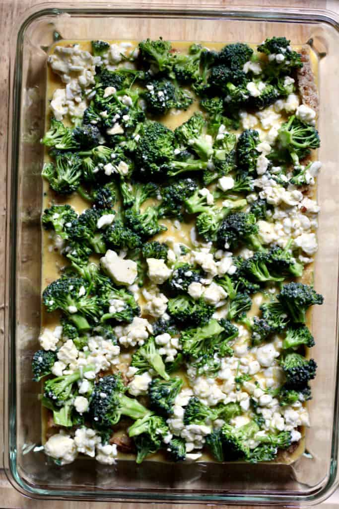 Prepping overnight broccoli and egg casserole