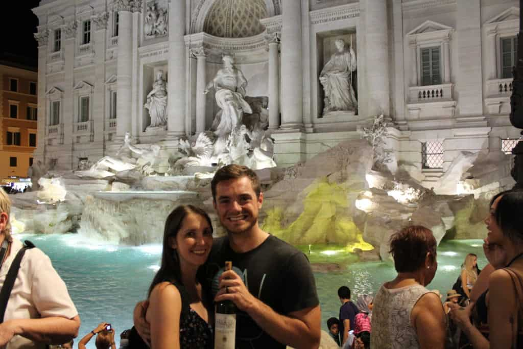 Kelli and Bryan in front of Trevi Fountain