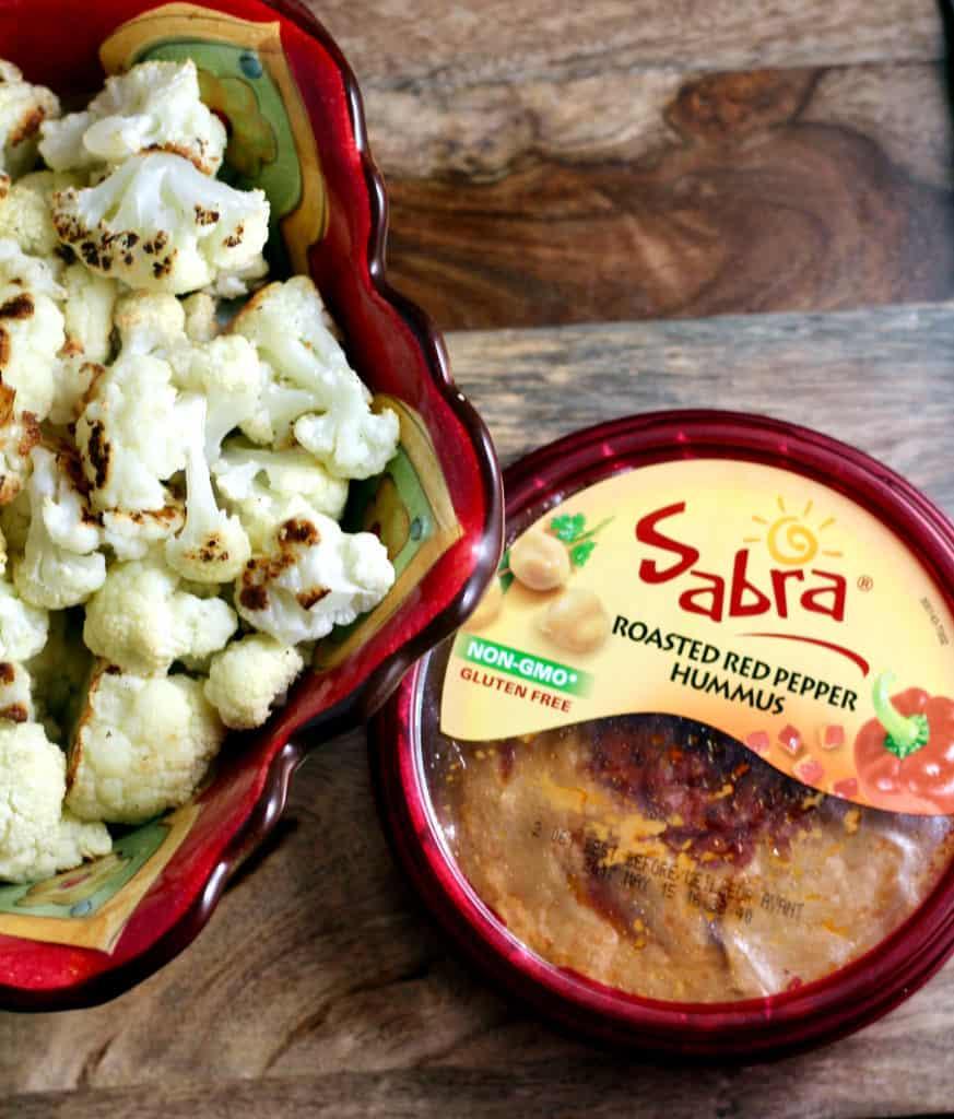 Roasted cauliflower and Sabra Roasted Red Pepper Hummus