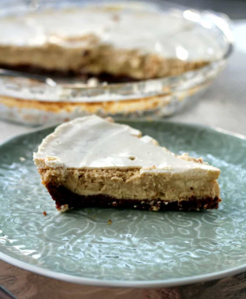 Slice of sinfully delicious Kahlua cream cheese pie