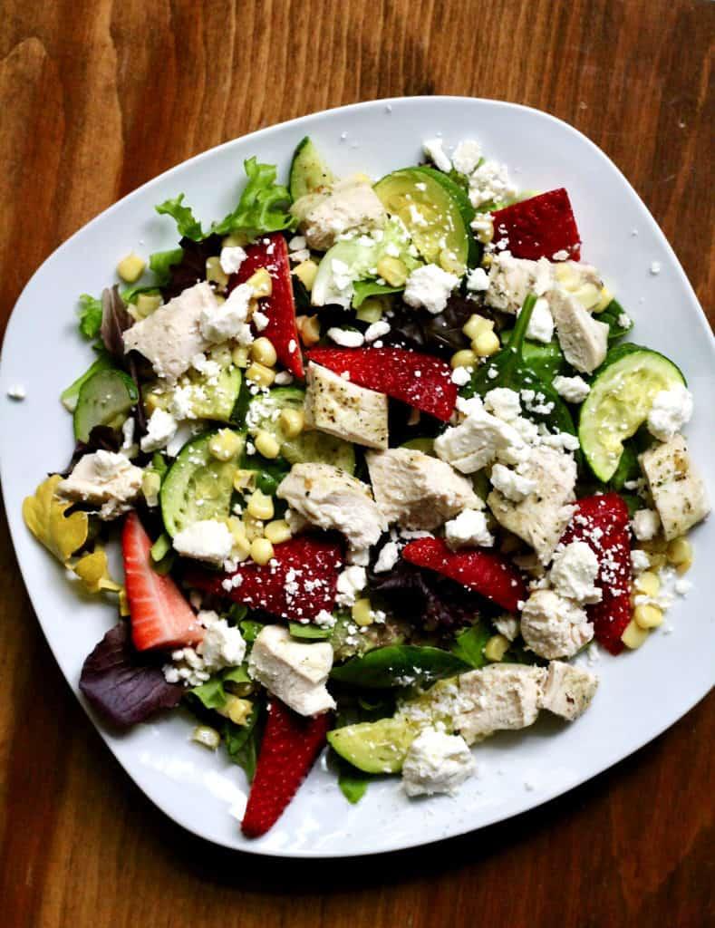 Chicken and strawberry summer salad