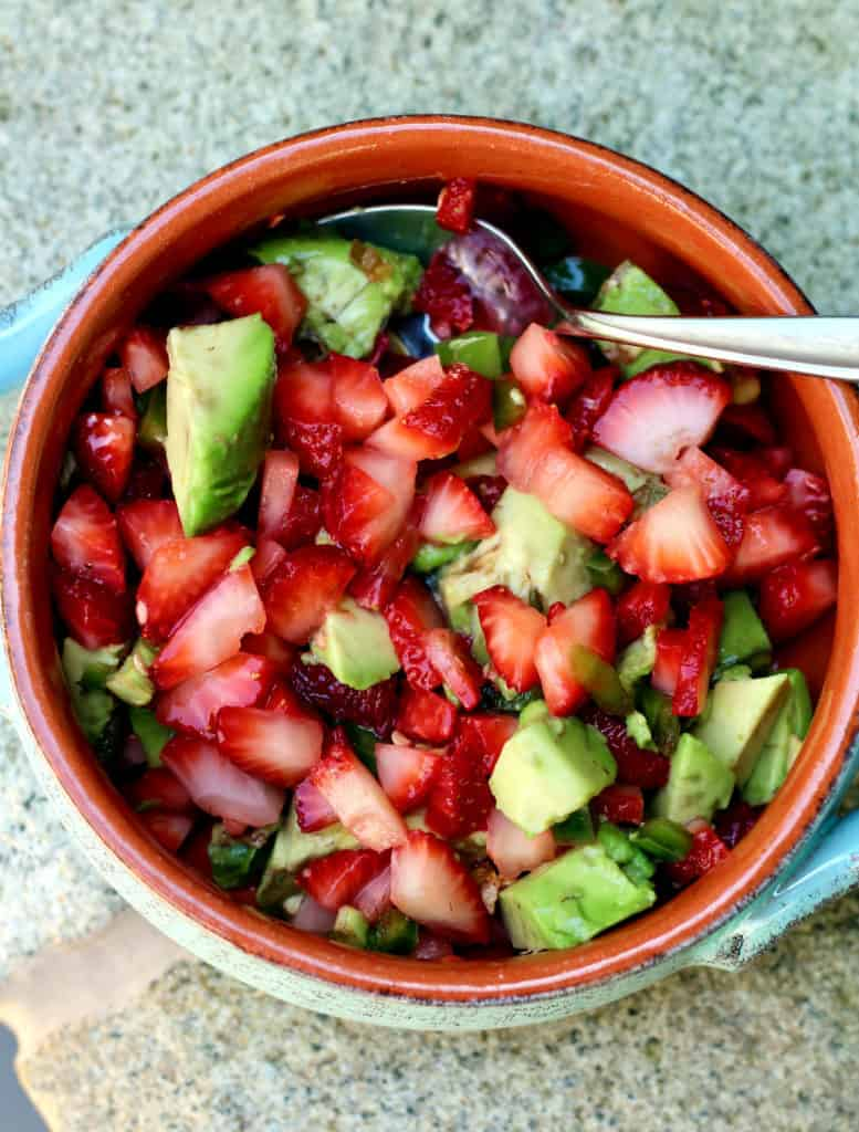 Bowl of strawberry salsa