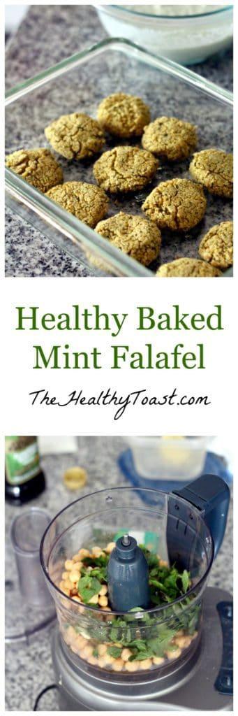 Healthy baked mint falafel pinterest image