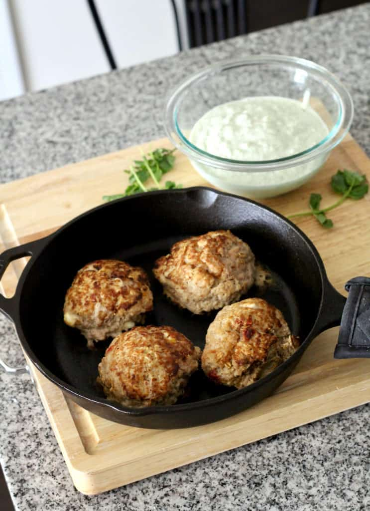 Greek turkey burgers in cast iron