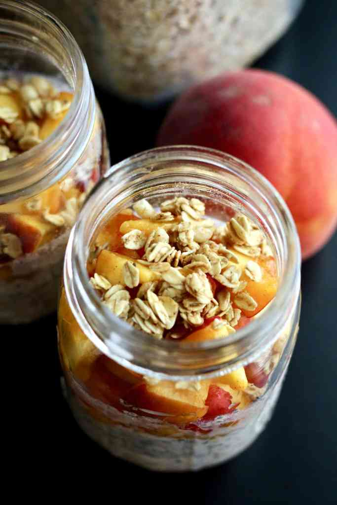 Healthy peach crisp overnight oats