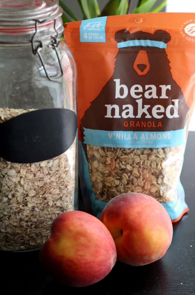 Bear Naked granola, Colorado peaches, and rolled oats
