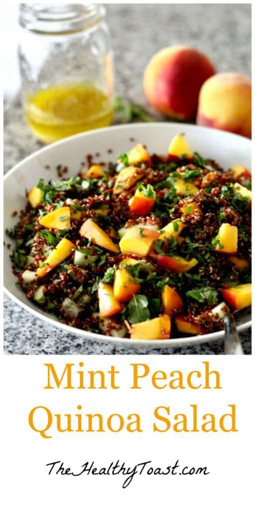 Mint peach quinoa salad pinterest image