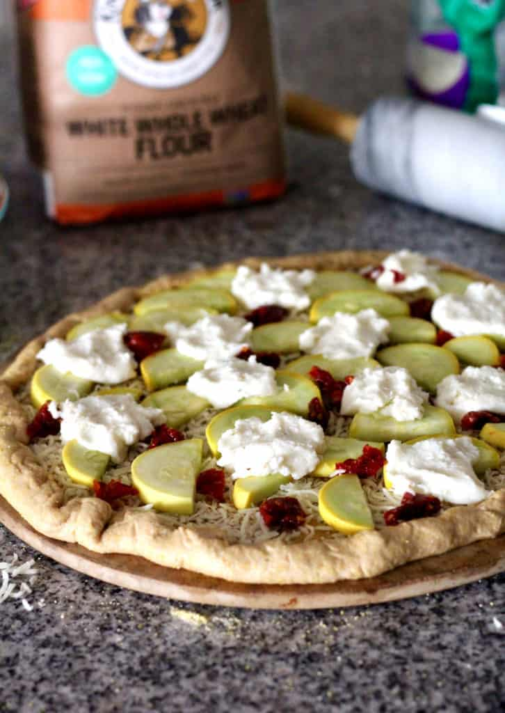 Summer Squash and Ricotta Pizza with a Whole-Wheat Cornmeal Crust