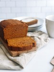 Greek yogurt pumpkin bread sliced