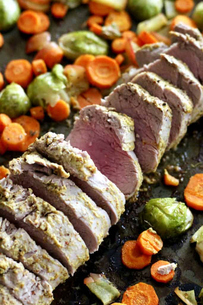 Sheet pan dijon maple pork tenderloin with roasted vegetables
