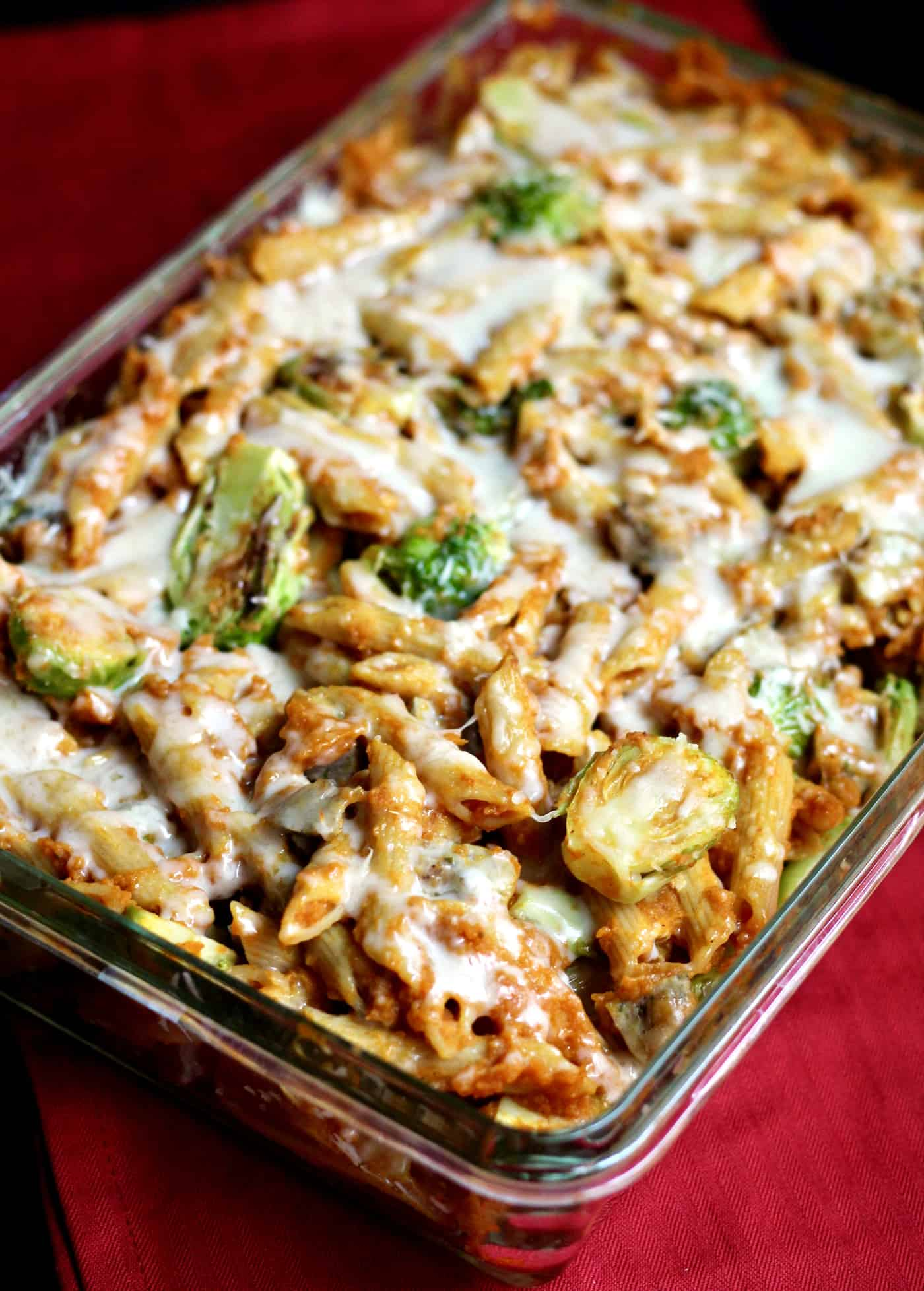 Cheesy Pumpkin and Roasted Brussels Sprouts Pasta Bake