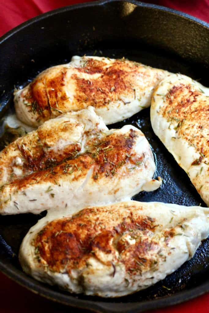 Cooking chicken in a skillet