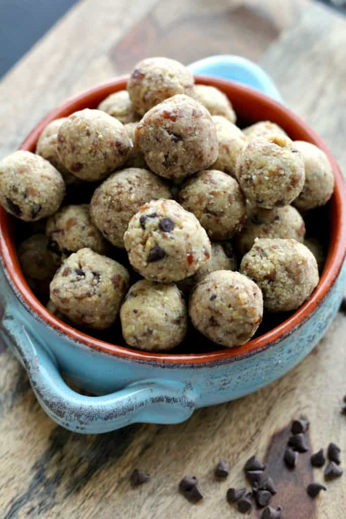 Healthy chocolate chip cookie dough bites in a bowl