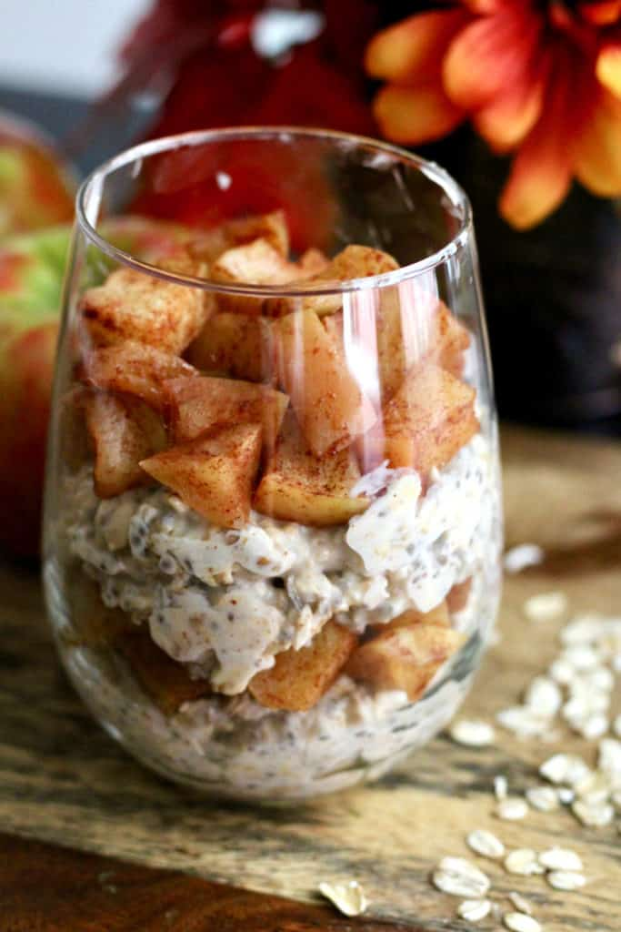 Layered overnight oats with healthy baked apples
