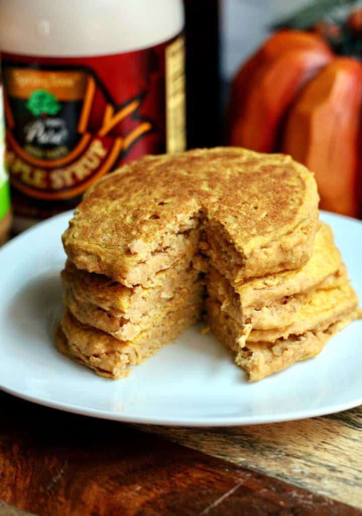 Stack of homemade pumpkin pancakes