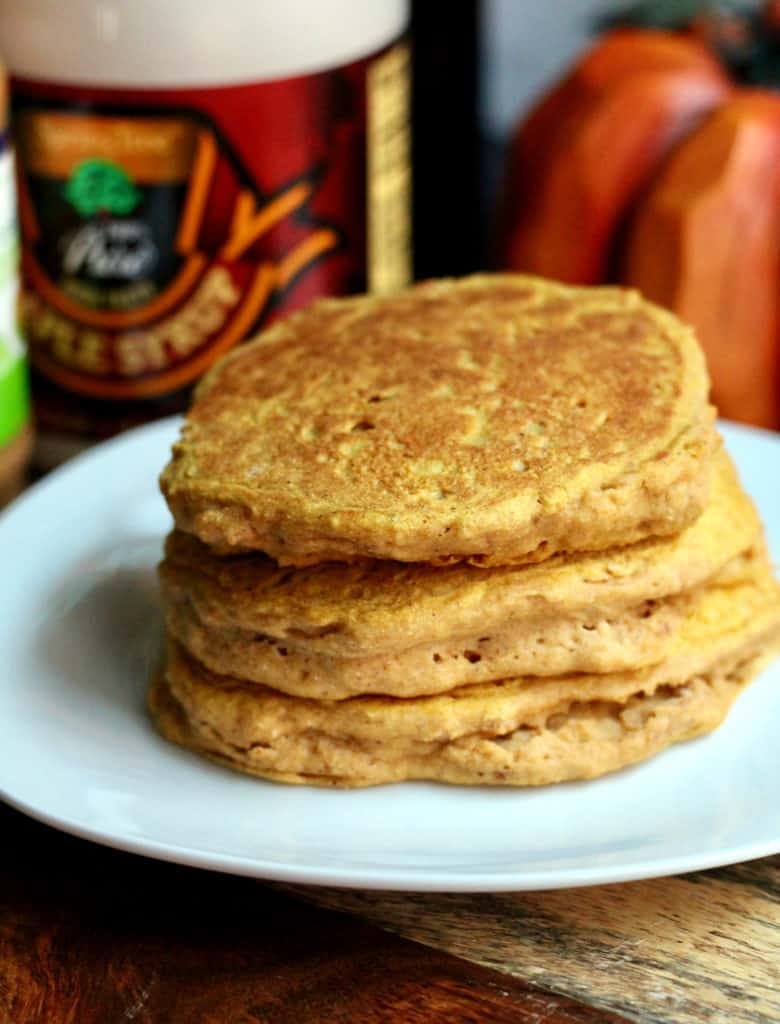 Stack of whole wheat pumpkin pancakes