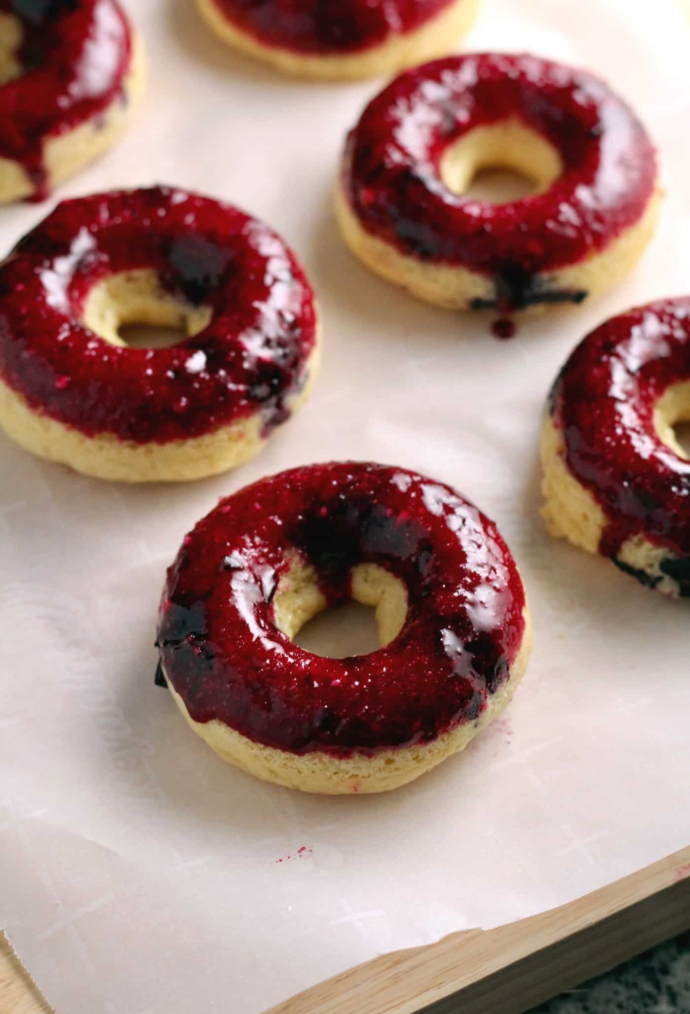 Baked Blueberry Frosted Donuts