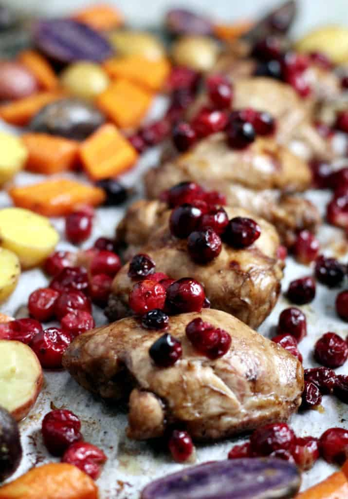 Sheet pan cranberry chicken with roasted veggies