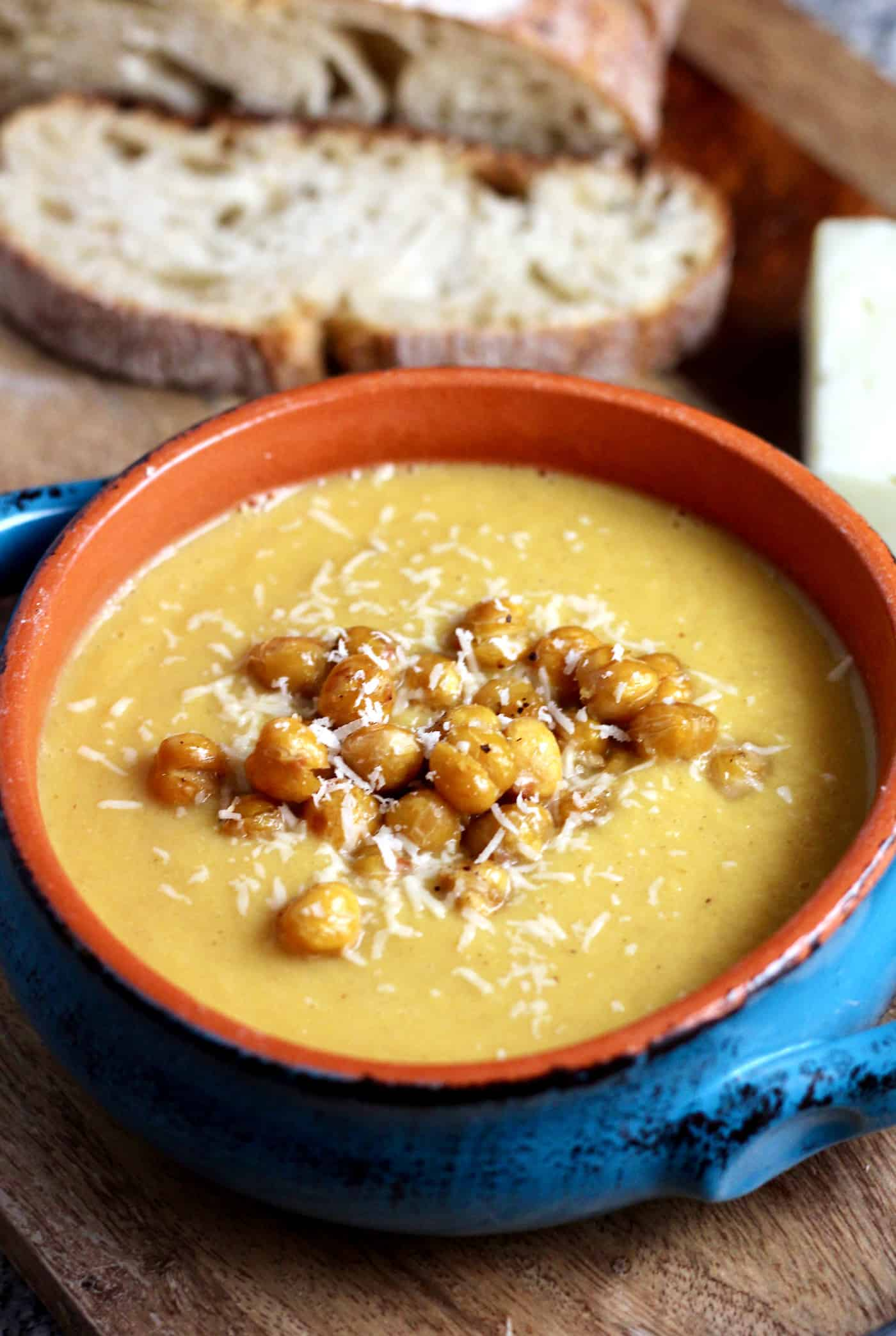 Roasted Cauliflower and Parmesan Chickpea Soup